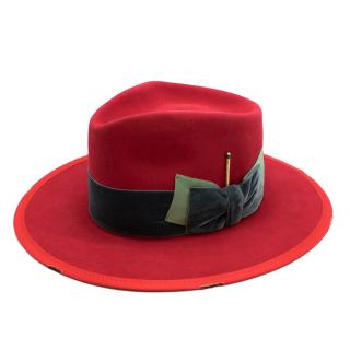 Nick Fouquet Red Island Distressed Matchstick Wool Felt Fedora