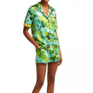 Richard Quinn Lime floral-print silk short Set