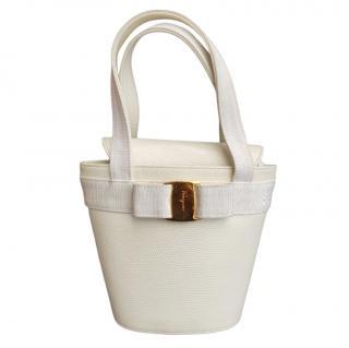 Salvatore Ferragamo White Vara Embossed Lizard Bucket Bag