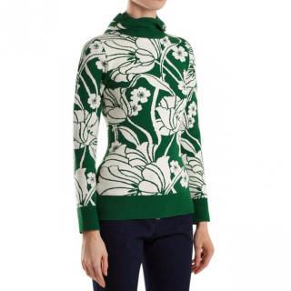 JoosTricot Green Floral Intarsia Hooded Jumper
