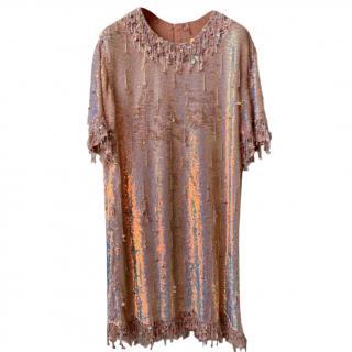 Ashish Pink Silk Sequin Fringed Shift Dress