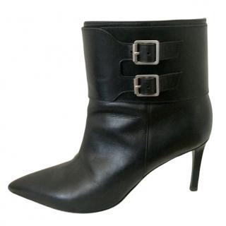 Saint Laurent Leather Double Buckle Ankle Boots