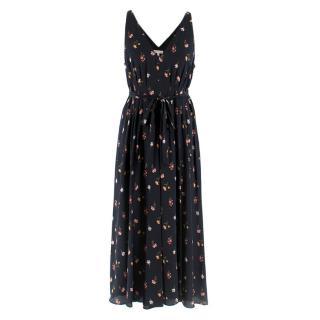 Rebecca Taylor Black Floral Silk Dress w/ Belt