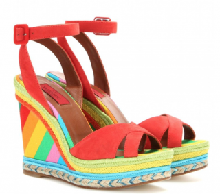 Valentino Rainbow Suede wedge sandals