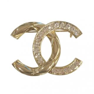 Chanel Crystal & Gold Tone CC Brooch