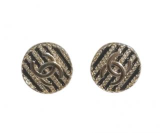Chanel Round CC Black & Chain Stripe Earrings
