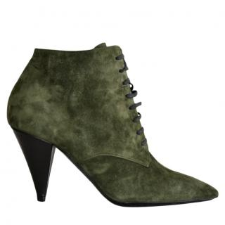 Saint Laurent Khaki Suede Lace-Up Ankle Boots