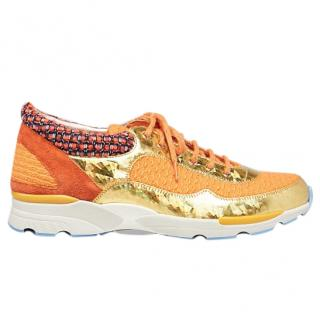 Chanel Orange & Gold Tweed & Leather Sneakers