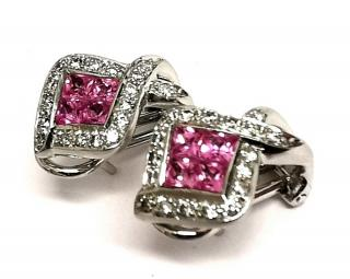 Bespoke pink sapphire and diamond earrings