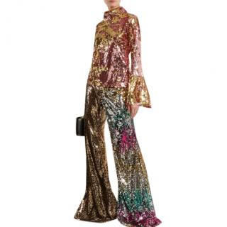 Halpern Sequin-embellished High-neck Top