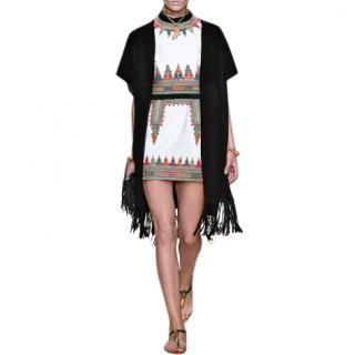 Valentino Black Suede Short Sleeve Caban Fringe detail Coat Sold Out