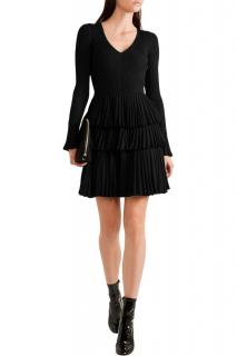 Diane Von Furstenberg Black Pleated Merino Wool Blend Dress