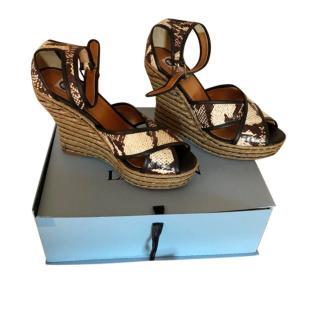 Lanvin Python Espadrille Wedge Sandals
