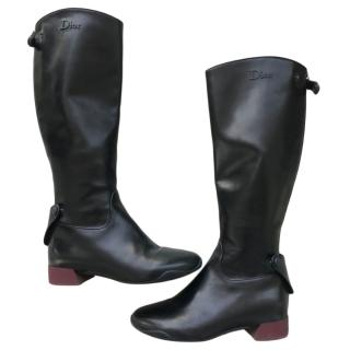 Dior Black Leather Riding Boots