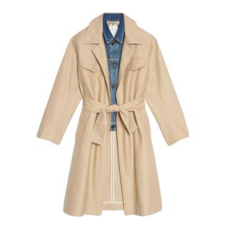 Sandro Trench Coat With Denim Jacket Insert