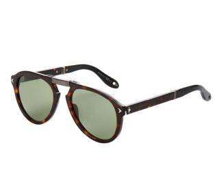 Givenchy Tortoiseshell Aviator Foldable Sunglasses