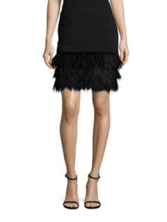 Polo Ralph Lauren Ostrich Feather Trimmed Skirt In Black