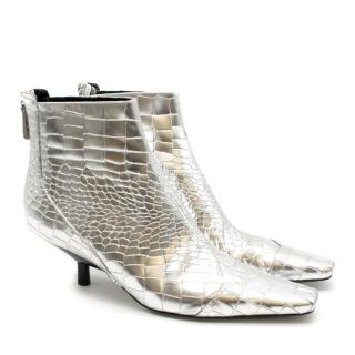 Loewe Silver Crocodile Embossed Leather Square Toe Ankle Boots