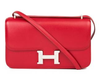 Hermes Tadelakt Leather Rubis Constance Elan