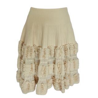 Alaia Ecru Wool Knit Skirt