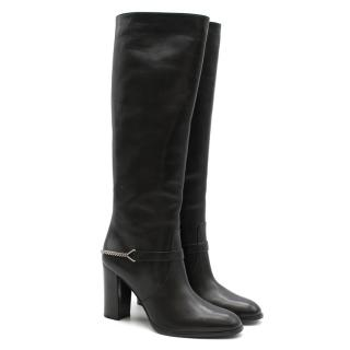 Saint Laurent Black Leather Long Boots w/ Silver Chain Trim
