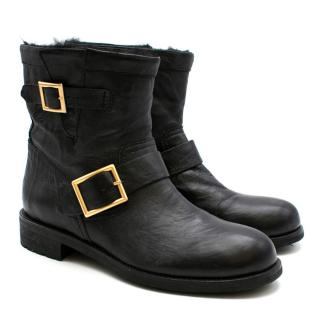 Jimmy Choo Youth Black Leather Biker Boots with Rabbit Fur