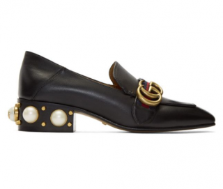 Gucci Black Peyton Pearl Heel Loafers - Current