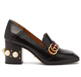 Gucci Peyton pearl-embellished leather loafers