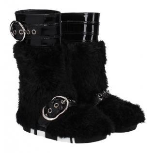 Miu Miu Black Fur & Patent Leather Boots