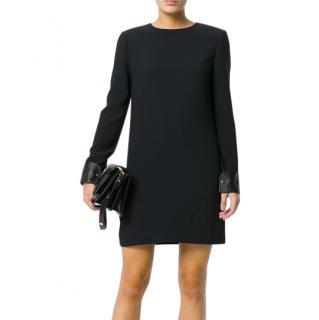 Helmut Lang Black Satin Leather Cuff Mini Dress