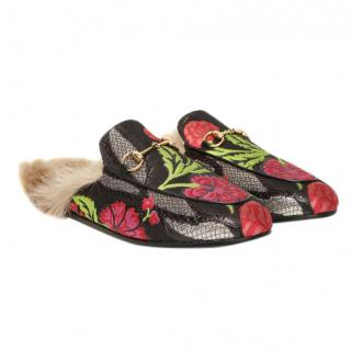 Gucci Princetown Floral Brocade Slippers