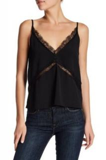 Walter Baker Black Eyelash Walker Lace Trim Cami Top