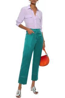 Emilio Pucci Emerald Cropped satin straight-leg pants