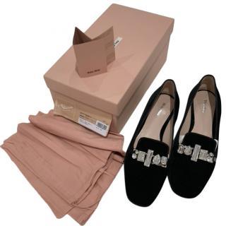 Miu Miu Black Velvet Crystal Embellished Loafers