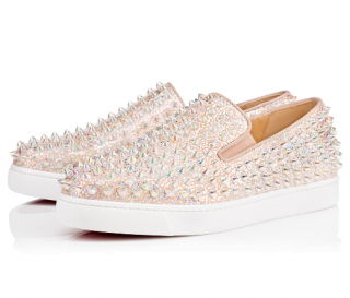 Christian Louboutin Metallic Nude Roller Boat Spiked Flats