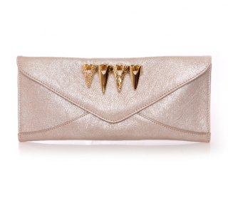 Maison Du Posh Champagne Leather Swarovski Knuckle Clutch