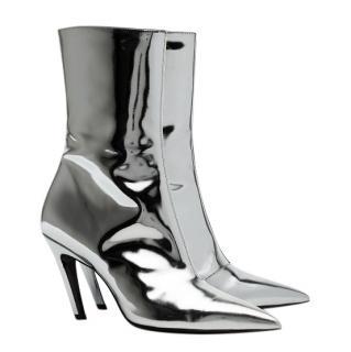 Balenciaga Silver Slash 80 Metallic Leather Heeled Ankle Boots