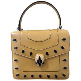 Bvlgari Serpenti Forever Ochre Studded Top Handle Bag