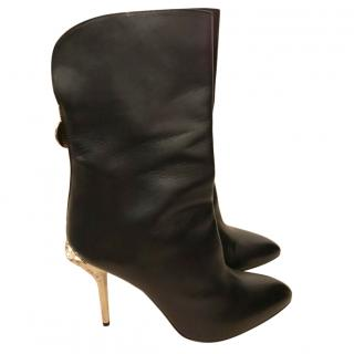 Versace Medusa Stiletto Black Leather Boots