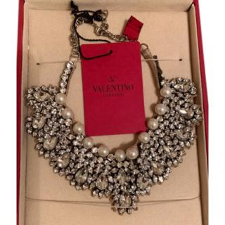 Valentino Crystal & Faux Pearl Bib Necklace
