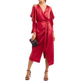 Roland Mouret Serena cold-shoulder silk-satin wrap dress