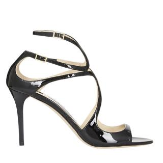 Jimmy Choo Ivette Black Patent 85mm Sandals