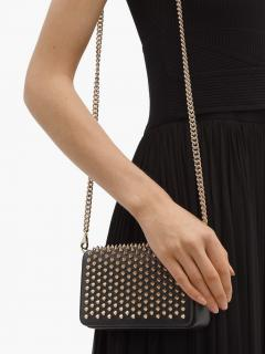 Christian Louboutin Zoomi Studded leather clutch