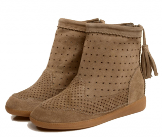 Isabel Marant Beige Basley Wedge Ankle Bootie