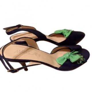 Marc Cain green flower embellished black kitten heeled sandals
