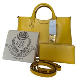 Lauren Ralph Lauren yellow leather tote and wallet