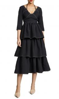 Rejina Pyo Black Linen Blend Tiered Cleo Dress
