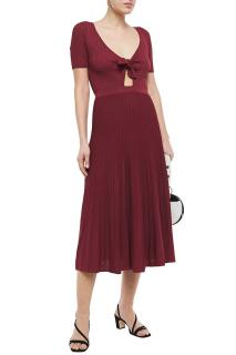 Sandro Shayna knotted pointelle-knit midi dress