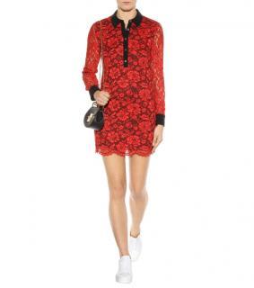 Diane Von Furstenberg Red Lace Shirt Dress