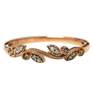 Bespoke Rose Gold Diamond Folate Band Ring